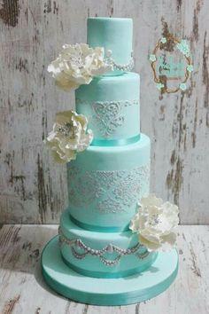 Aqua, White and Silver Tiered cake