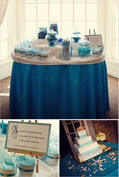 beach wedding ideas... like these. definitely would like a darker more sapphire color