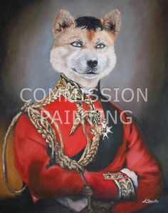 Commission painting of a Shiba Inu wearing Duke of Wellingtons clothes and hair + the eyes of the person who commissioned it taken from a webcam shot he sent me.