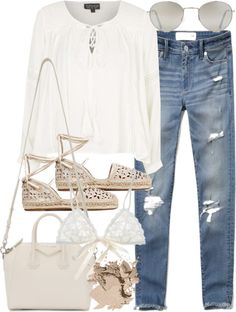 Untitled #2345 by mollyk99 featuring a sexy lingerie Topshop boho shirt, 47 AUD / Abercrombie & Fitch ripped skinny jeans, 82 AUD / Hanky Panky sexy lingerie, 59 AUD / MICHAEL Michael Kors ankle strap sandals, 105 AUD / Givenchy duffle bag, 1 800 AUD...