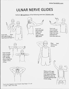 HB Hands: Ulnar Nerve Glides – This website is solely provided as an aide to assist a formal home exercise program provided by a licensed Certified Hand Therapist Occupational Therapy Activities, Occupational Therapist, Physical Therapist, Physical Therapy Student, Home Exercise Program, Workout Programs, Ulnar Nerve Exercises, Carpal Tunnel Exercises, Arthritis Exercises