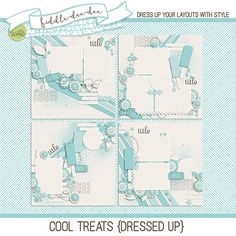 Cool Treats {Dressed Up} templates feature popsicle die cuts along with a variety of elements to give you a fun and fabulous way to document your favorite cool treats!  This personal use/S4H template set includes four (4) layered 12x12 templates in both .psd and .tif files all at 300 ...