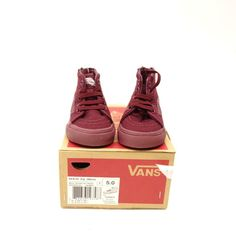 40421163b6e New Vans Toddler Kids Maroon Red Classic Zipper Up High Top Sneaker Shoes  Size 5