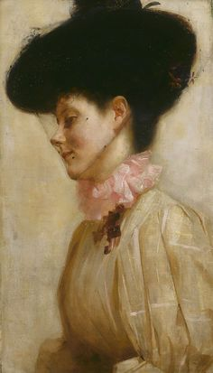 ▴ Artistic Accessories ▴ clothes, jewelry, hats in art - Tom Roberts | Portrait of Florence, 1898