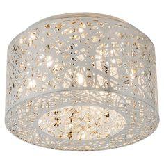 White Metal & Glass Flush Mount Light.