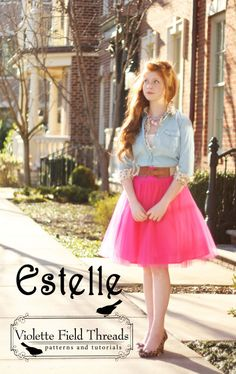 Estelle Skirt Sewing Pattern - Women's tulle skirt (fun for a night out or wedding) - Violette Field Threads love this look! Womens Skirt Pattern, Skirt Patterns Sewing, Skirt Sewing, Pattern Sewing, Tutu Pattern, Diy Clothing, Sewing Clothes, Modest Fashion, Diy Fashion