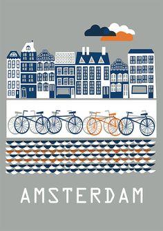 Das Amsterdam Poster von DORO Illustrations. Größe: 50 x 70 cm