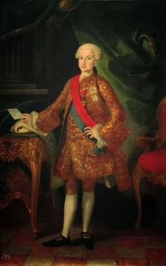 """Joaquín INZA, """"Portrait of Charles of Bourbon and Saxony, Prince Royal of Naples and Sicily, Infante of Spain, Prince of Asturias XXVIIIº (1748-1819) - future King Carlos IV of Spain and the Indies , oil on canvas, 1759-1760."""