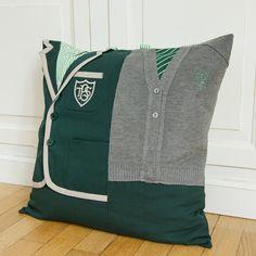 Up cycled school uniform 60cm picnic cushion
