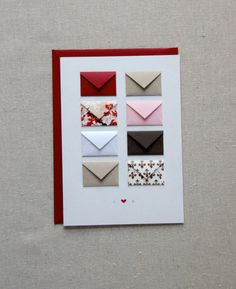 I Love You  Tiny Envelopes Card with Custom by LemonDropPapers, could easily be DIYed but the seller has lots of lovely options and very professional-looking