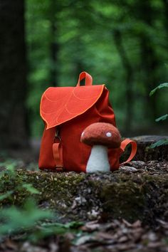 Leaf Mini Backpack, Orange Woman's Rucksack, Waterproof Festival Backpack,Hipster Backpack, Lightweight Rucksack, Cycling Bag, Boho Backpack