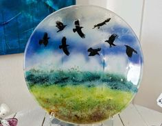 Fused glass - Big plate with ravens - 35 cm