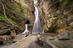 Black Star Canyon, Orange County, Ca. The falls to the left come out of an abandoned mine shaft.