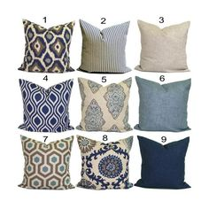 Bohemian Blue and turquoise Cushion / Pillow / Square Cover - Indoor / Outdoor- Coastal- Beach house - Nautical : Bohemian Blue and turquoise Cushion / Pillow / Square Navy Blue Pillows, Brown Pillows, Blue Pillow Covers, Decorative Pillow Covers, Cover Pillow, Indigo, Home Design, Turquoise Cushions, Euro