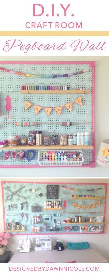 Might have to make one of these to keep all my goodies close at hand & save one shelf space.| DIY Craft Room: Jumbo Framed Pegboard Wall
