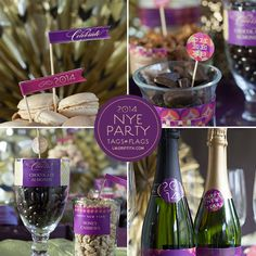 Free Printable New Year's Eve stickers, food tags, and food flags from Lia Griffith (pinned the matching invitations, etc earlier)