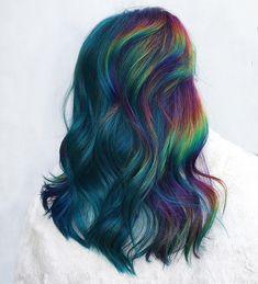 Pretty Hair Color, Exotic Hair Color, Oil Slick Hair, Unicorn Hair Color, Creative Hair Color, Colored Hair Tips, Hair Dye Colors, Dye My Hair, Rainbow Hair