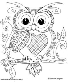 owl colouring page - Cute Owl Printable Coloring Pages
