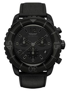 Skywatch  Men's Black Chronograph Watch