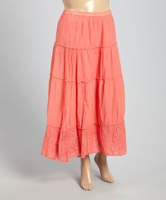 Love this Salmon Peasant Skirt - Plus on #zulily! #zulilyfinds