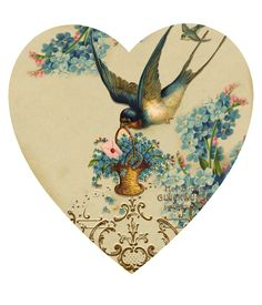 Vintage bird heart  embellishment via Wendy Schultz ~ Valentines ~ Cards + Projects.