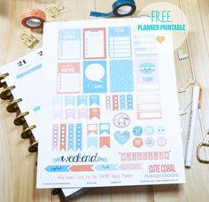 Cute Coral Planner Stickers - Free Printable - Vintage Glam Studio