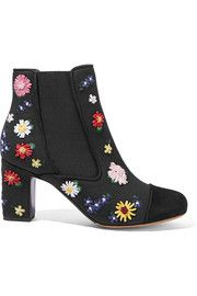 Micki Meadow suede-paneled embroidered canvas ankle boots