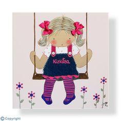Cuadro infantil personalizado: Niña en un columpio (ref. 12056-01) Felt Crafts, Fabric Crafts, Cottage Crafts, Fabric Toys, Applique Patterns, Applique Ideas, Children Images, Painting For Kids, Handmade Toys