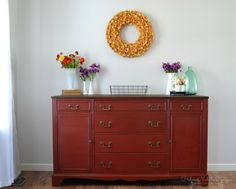 5 tuscan red buffet, dark wax, helen nichole designs, buffet painted red