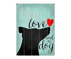 Wandafbeelding op hout All you need is love and a dog, H 50,8 cm