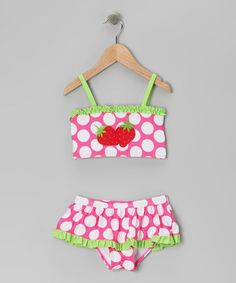 Take a look at this Pink & Lime Polka Dot Strawberry Skirted Bikini - Toddler & Girls by Penelope Mack on #zulily today!