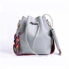Colorful Strap Bucket Bag Women High Quality Pu Leather Shoulder Bag
