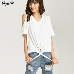 Hzirip Free Shipping Women Cotton T Shirts White Summer Short Sleeve V-neck Loose Tees Shirt Strapless Lace Up Casual LadyTops #Affiliate