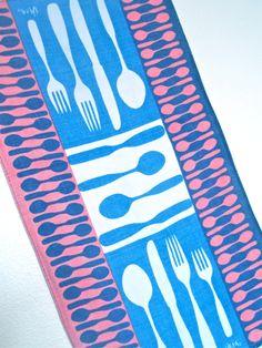 Picnic Mod - a vintage 1960's Vera Neumann Hand-Painted Tea Towel - Belgian Linen. $42.00, via Etsy.