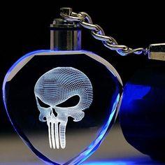 Fancy&Fantasy Light Up The Punisher Skull Logo Skeleton Movie Mask Fashion Keychain