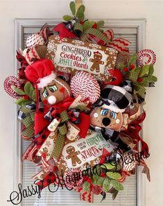 Gingerbread Christmas Wreath Gingerbread Wreath Gingerbread | Etsy Christmas Mesh Wreaths, Christmas Ribbon, Red Christmas, Christmas Decorations, Holiday Decor, Velvet Pumpkins, Fabric Pumpkins, Fall Pumpkins, Etsy Christmas