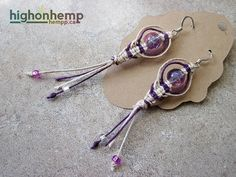 Brand new! Currently only singles for sale, if interested in a bulk sale feel free to contact us through Tumblr or Etsy.  https://www.etsy.com/ca/listing/206857380/hypnotic-purple-hemp-earrings  #hemp #earrings