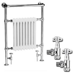 Traditional Savoy Heated Towel Rail with Pair of Angled Crosshead Radiator Valves at Victorian Plumbing UK