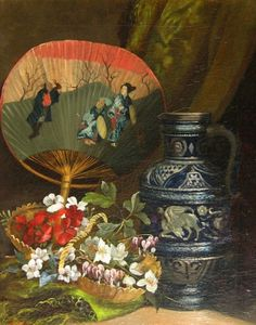 Henri Saintin, Still Life with Oriental Fan  19th century