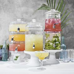 Williams Sonoma offers beverage dispensers and drink dispenser stands in a variety of sizes and materials. Find glass drink dispensers, glass punch bowls and drink stands with our collection of party drink containers. Plastic Beverage Dispenser, Drink Dispenser, Bar Drinks, Beverages, Drink Bar, Double Glass, Entertaining, Williams Sonoma, Sangria Bar