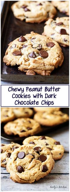 Chewy Peanut Butter Cookies with Chocolate Chips are the best of both worlds. Smooth peanut butter and rich dark chocolate. via @berlyskitchen