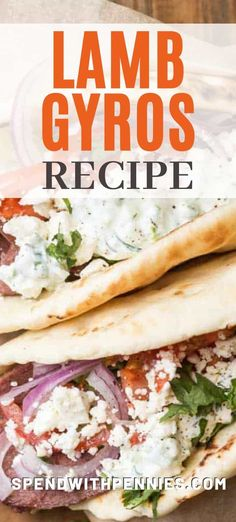 This authentic Greek gyros recipe is made with a combination of Pita bread, tzatziki sauce and gyro meat. These homemade gyros are then topped with an array of fresh toppings for a healthy and delicious lunch. Homemade Gyro Recipe, Lamb Gyro Recipe, Homemade Tzatziki Sauce, Chicken Wrap Recipes, Lamb Recipes, Top Recipes, Greek Recipes, Recipe Chicken, Recipies
