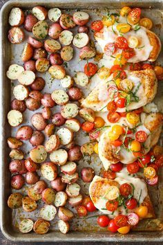 An easy sheet pan bruschetta chicken dinner. Just top with fresh tomatoes right before serving!
