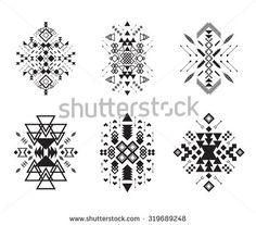 Tribal elements collection. Vector illustration set.Tribal art and aztec design.