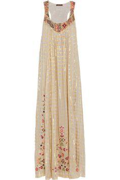VINEET BAHL Embroidered voile maxi dress. (Fijate en el borde en los hombros  y escote)