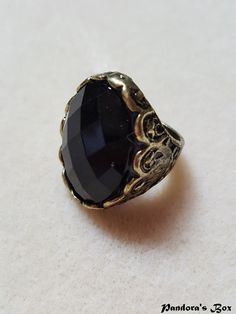 This Beautiful Handmade black onix agate stone adorning this llamative ring, Big Size (9) and Shiny onyx agate stone carving, beautiful Antique Tone and perfect for daily wear and any outfit.    stone size : app 1 inch | Shop this product here: spree.to/b2qu | Shop all of our products at http://spreesy.com/joeysonlinestore    | Pinterest selling powered by Spreesy.com