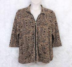 2416c0257e12 Womens SPORTELLE Brown Geo Aztec Print Full Zip ¾ Sleeve Knit Jacket Size 1X