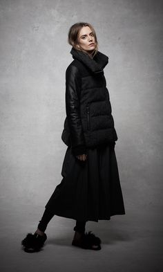 ashley B Leather-Contrast Down Coat