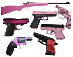 That's right -- pink guns. If you're a woman who's put off by the macho violence of guns, maybe you'd change your mind if they were pink.