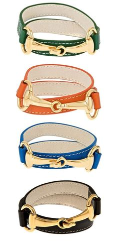 Derby Bracelets avail in 4 colors. Leather wrap with gold horsebit closure.  Stack or wear alone.  As seen in Equestrian Magazine. www.ainsleyandchase.com